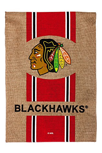 Team Sports America Burlap Chicago Blackhawks Garden Flag, 12.5 x 18 - Chicago Sports Flag