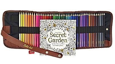 "Professional Color Pencil Set-48 Unique Art Coloring Pencils- Non-Toxic Drawing Oil Pencils- Pencil Kit With Canvas Roll Up Pencil Case, Sharpener & FREE GIFT Great Adult Coloring Book ""Secret Garden"""