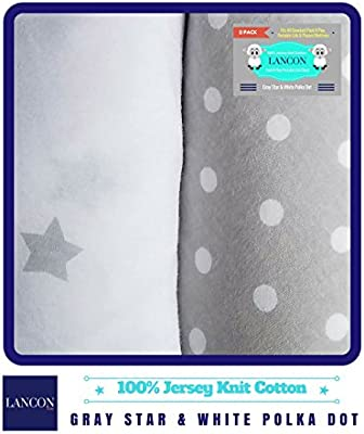 Pack N Play Portable Crib Sheet Set by LANCON Kids 2 Pack of Ultra Soft Blue//Paw Print Premium 100/% Jersey Knit Cotton Fitted Sheets