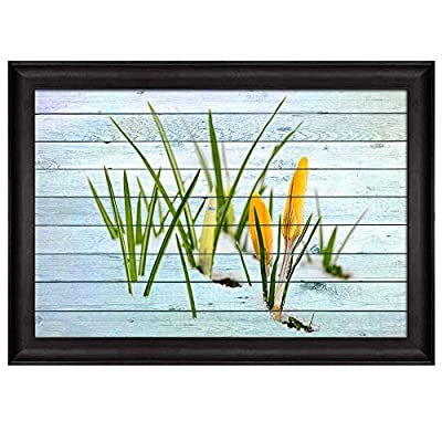 Handsome Picture, Yellow Flowers and Grass Blooming on The Snow Over Wood Panels Nature Framed Art, Made With Love
