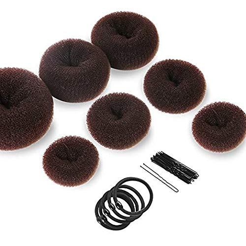Donut Hair Bun Maker 7 Pieces, Teenitor Ring Style Bun Maker Set with Hair Bun Makers (1 extra-large, 2 large, 2 medium and 2 small), 5 pieces Hair Elastic Bands, 20 pieces Hair Pins, Dark Brown -
