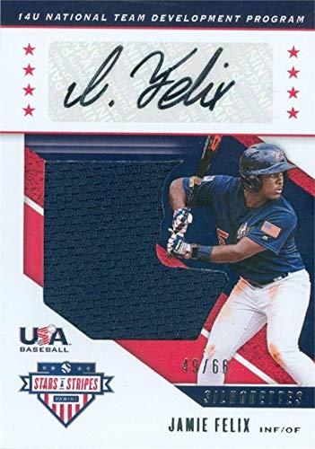 Jamie Felix autographed player worn jersey patch baseball card (Team USA, 67) 2019 Panini Stars & Stripes Silhouettes #USAGI LE 49/66