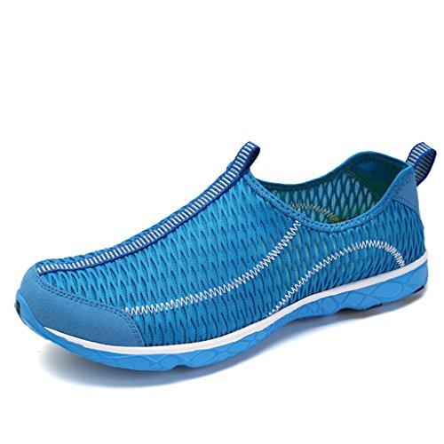 SAGUARO Badeschuhe Wasserschuhe Mesh Schnell Trocknend Aqua Slip On Schuhe Sommer Strandschuhe Surfschuhe Wanderschuhe für Unisex Damen Herren Blau