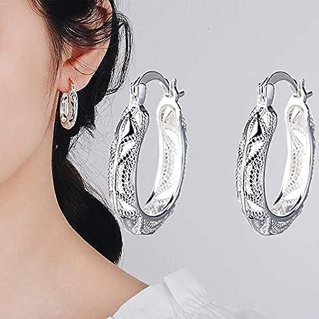 Ohne Markenzeichen Pendientes Granate Color Plata for la Mujer Mujer Oreja Peridot Boda de la Piedra Preciosa Pendiente de Gota de Plata esterlina (Color : Silver)