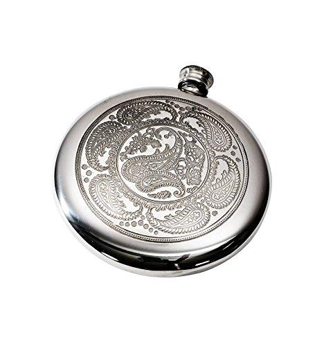 - Wentworth Pewter - Paisley Pattern Polished Round Pewter Sporran Flask, Spirit Flask, 4oz Capacity
