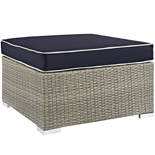 Fabric Outdoor Ottoman - Modway EEI-2962-LGR-NAV Repose Outdoor Patio Upholstered Fabric, Ottoman, Light Gray Navy