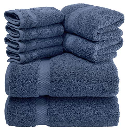 (White Classic Luxury Bath Towel Set Navy-Blue - Combed Cotton Hotel Quality Absorbent 8 Piece Towels | 2 Bath Towels | 2 Hand Towels | 4 Washcloths [Worth $72.95] Navy Blue | 8 Pack )