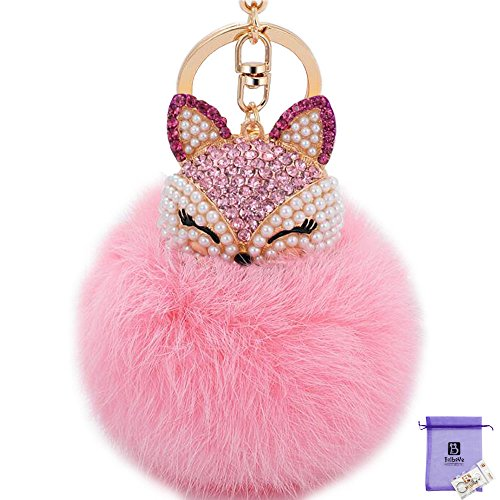 Bolbove Handmade Rhinestone Fox Head with Fur Ball Pendant Sparkling Keychain Crystal Pearls Charm (Pink)