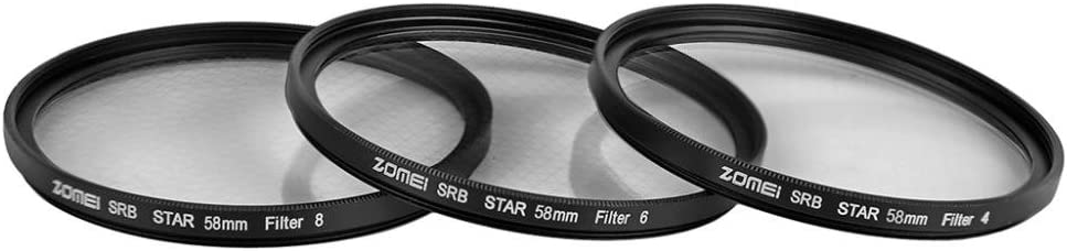 Zomei Optical Glass Star-Effect 4//6//8Points Lens Filter for Camera 58mm