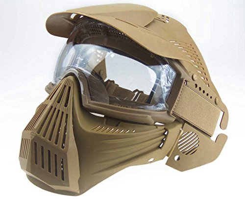 Myheartgoon Riding Visor Full Face Protection Impact Resistant Pc Lens Mask Outdoor Airsoft Hunting Cs Game Paintball Mask (TAN) - Tan Mask
