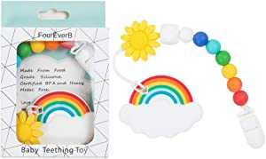 FourEverB Rainbow Shaped Teether w/ Silicone Beaded Pacifier String w/ Sunflower Silicone Bead, and Plastic Clip, Food Grade Silicone Baby Teething Toys, BPA Free