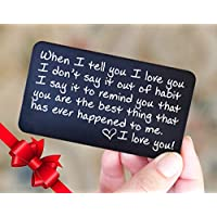 Wallet Card Love Note | Husband Gifts from Wife, Aluminum Anniversary Gifts for Husband | Engraved Boyfriend Gift Idea | Valentine's Day | Meaningful & Romantic Mini Wallet Insert for Men, LDR