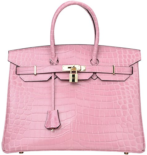 Crocodile Leather Goods - Cherish Kiss Padlock Bag Women Crocodile Leather Top Handle Handbags (35 Croco Light Pink)