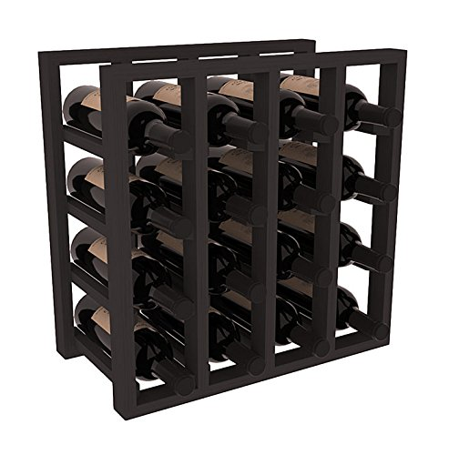 (Wine Racks America Ponderosa Pine Lattice Stacking 16 Bottle Cubicle. Black Stain)