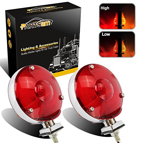 Face Red/Amber Lens 24 LED Turn Tail Stop Light Pedestal Mount 12V for Peterbilt Freightliner Kenworth Mack ()