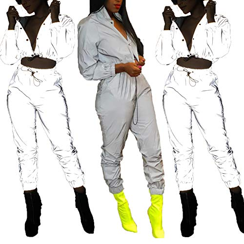 ECHOINE Women's Sexy 2 Piece Outfits Long Sleeve Jacket Pants Tracksuit Set with Pockets Gray ()