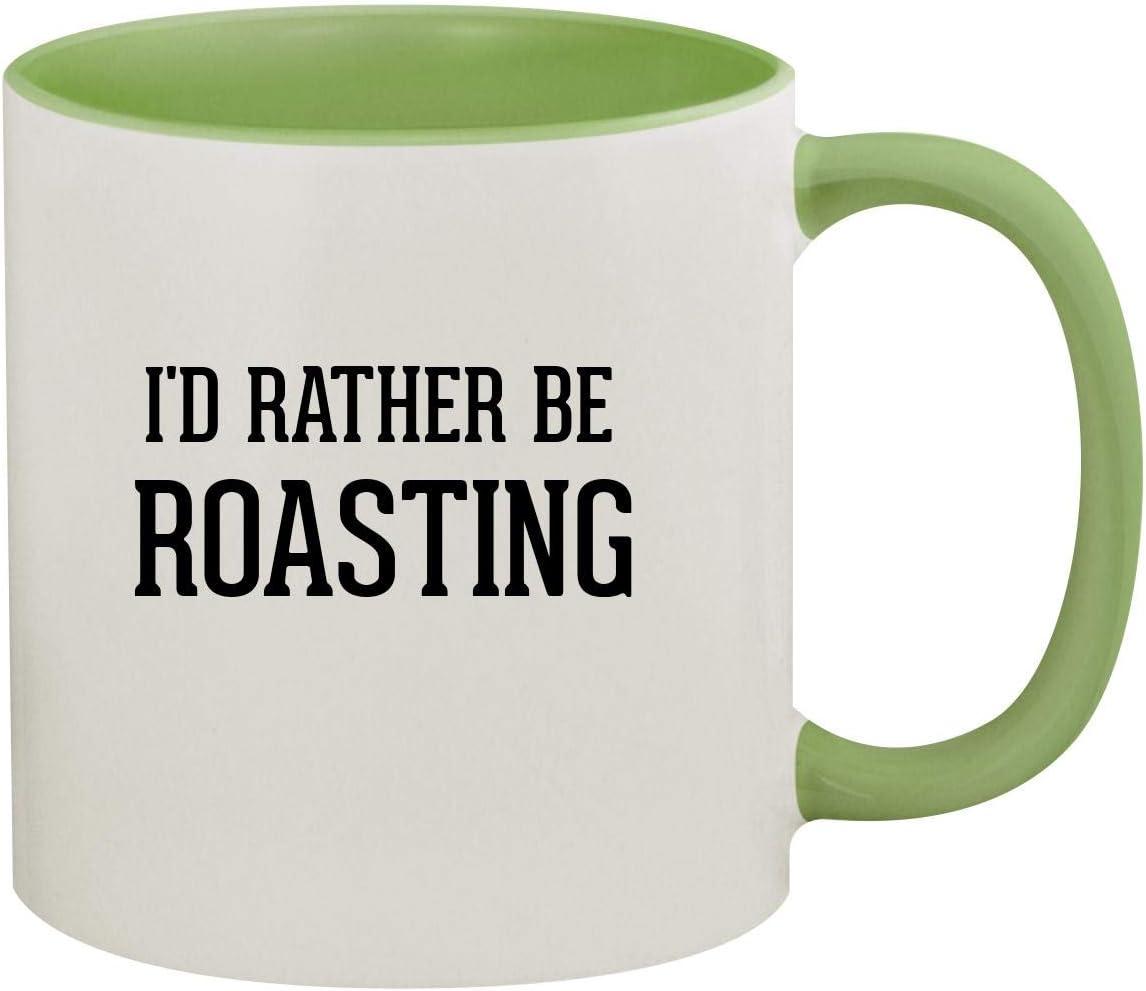 I'd Rather Be ROASTING - 11oz Ceramic Colored Inside & Handle Coffee Mug, Light Green