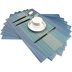 Placemats Washable Easy to Clean Pvc Placemat for Kitchen Table Heat-resistand Woven Vinyl Hard Table Mats 12x18 inches Set of 6 (Blue)