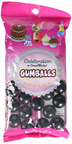 Sweetworks Celebration Candy Gumballs Bag, 8 oz, Black -