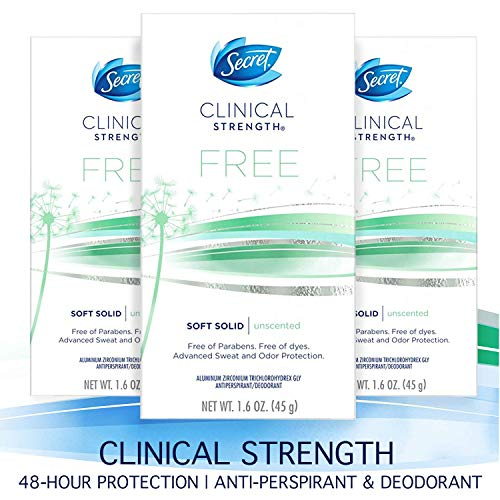 (Secret Antiperspirant Deodorant for Women, Clinical Strength Soft Solid, Paraben Free, Dye Free, Unscented, for Sensitive Skin, 1.6 oz, (Pack of 3))