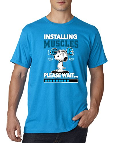 - New Way 433 - Unisex T-Shirt Installing Muscles Please Wait Snoopy Peanuts Workout Training Gym 4XL Sapphire
