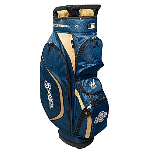 Team Golf MLB Milwaukee Brewers Clubhouse Golf Cart Bag, Lightweight, 8-Way Top with Integrated Handle, 6 Zippered Pockets, Padded Strap, Towel Ring, Umbrella Holder & Removable Rain Hood