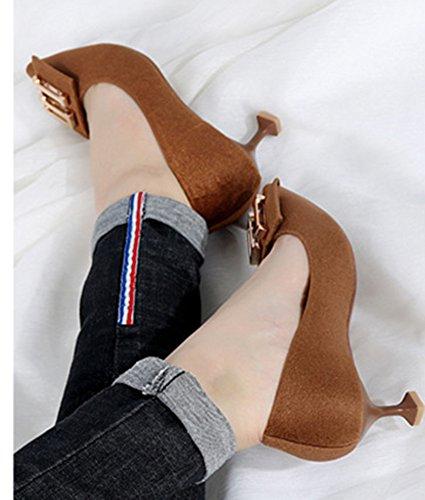 Escarpins Mode Bout Brun Pointu Femme Aisun On Slip Métal n0q16xwHa