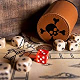 Liar's Dice Game Set - Classic Family Bluffing Game - Treasure Chest Includes Six Professional Bicast Leather Dice Cups, 30 Custom Bullseye D6 Dice, Custom Bidding Die, Pirate Ship Game Mat