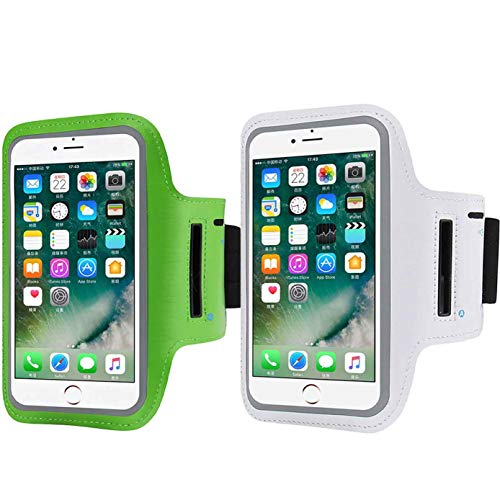(2 Pack Cell Phone Armband Compatible with iPhone X Xs Max,XR,6/6s/7/8 Plus,Samsung Galaxy S9,S8 Plus,S9/S8/S7,Water Resistant Breathable Armband Running, Biking,Phone Diagonal 5.3