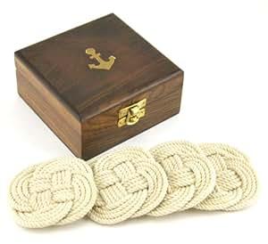Sailor's Rope Coaster Set, Nautical Anchor Cherry Wood Box Holder, 4.75-inch