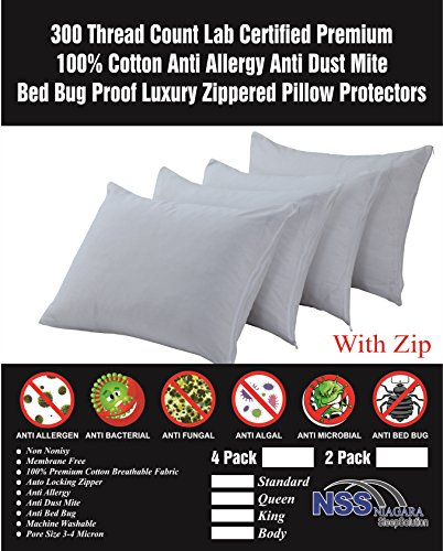 Premium 100% Cotton Non Crinkly 2 Pack Zippered Anti Allergy Bed Bug Dust Mite Proof Pillow Case Protector Anti Bacterial Covers Breathable Non Noisy Luxury Coating Free (Anti Allergy, Pair Standard)