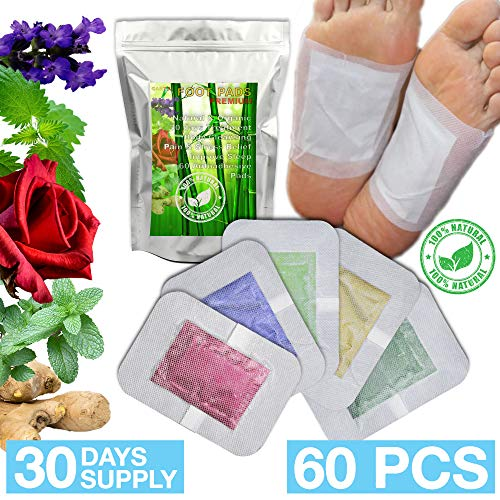 100% Natural Foot Care Pads 2in1 | 30 Days Treatment - 60 Foot Pads | Relief Stress & Pain | Bamboo Vinegar Auto Adhesive Patches | Flavors: Lavender, Ginger, Rose, Mint, Green Tea | Foot Spa