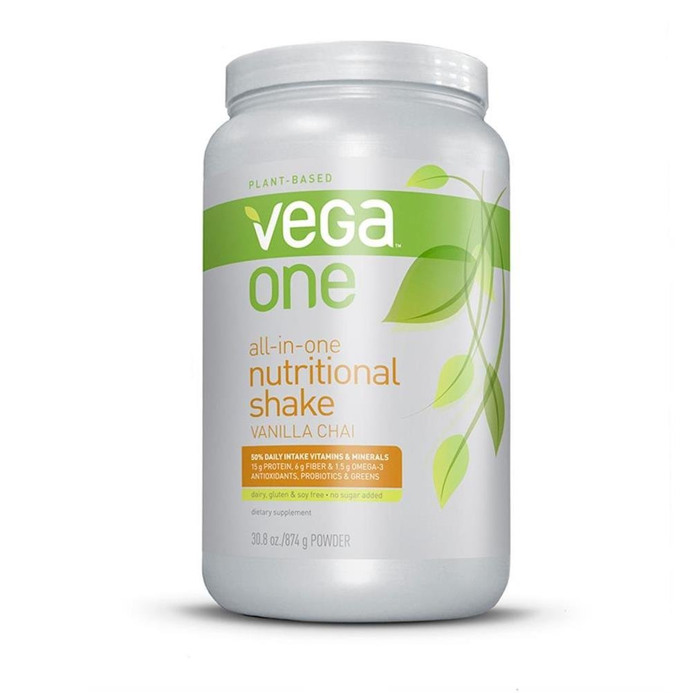 Vega One All-in-One Nutritional Shake Vanilla Chai (Tub, 30.8oz) - Plant Based Vegan Protein Powder, Non Dairy, Gluten Free, Non GMO by Vega