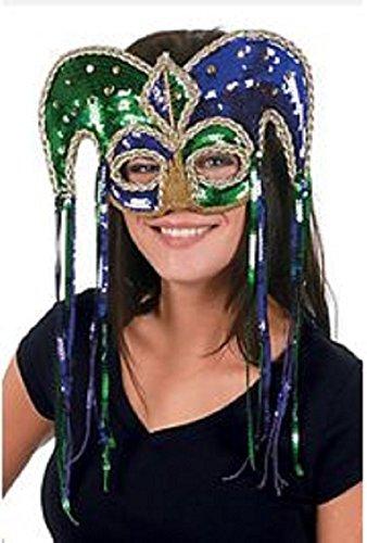 Jester Half Mask - Mardi Gras Plastic Sequin Jester Masquerade Half Mask, 11 1/2