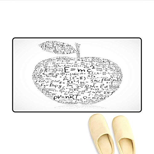 YGUII Door Mats Equations and Formulas in The Shape of an Apple Learning Knowledge Student Customize Bath Mat with Non Slip Backing Black White 16X23.6in (40x60cm) ()