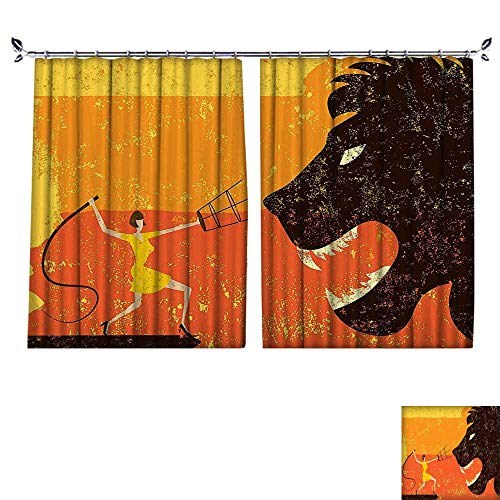PRUNUS Window Curtains with Hook Art Deco Style Cartoon 20s Drawing Like Circus Women and a Trained Big Improve Living Environment,W55 -