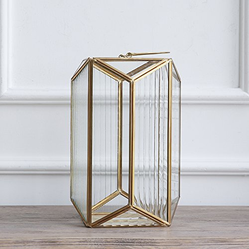 Cyl Home Candle Lanterns Textured Clear Crystal Glass Bronze Brass Frame Hanging Hurricane Tea Light Holder Lamp Polyhedral Centerpiece Decor Accent Gift Wedding, Tea Party, 11'' H x 7.5'' D -