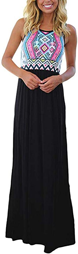 kemilove Womens Ethnic Style Sleeveless Aztec Print Tank Dress Summer Beach Dress Casual Bohemian Long Dresses