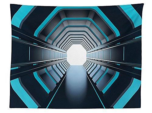 Vipsung Outer Space Decor Tablecloth Tunnel With Neon Lights Passage Mercury Lunar Orbit Inspired Stardust Art Dining Room Kitchen Rectangular Table Cover Blue Black