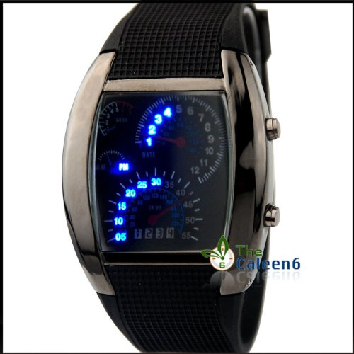 RPM Turbo Flash LED Watch Brand NEW Gift Sports Car Meter Dial Men Blue Light/black Band/black, Watch Central