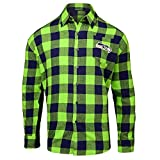 FOCO Seattle Seahawks Large Check Flannel Shirt - Mens Double Extra Large