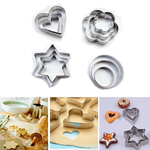 Saasiiyo New 12PCS/SET Star/Heart/Flower Cookie Cutter Sporting Shapes Biscuit Mold 11-517 (Gift Baskets Tucson Az)
