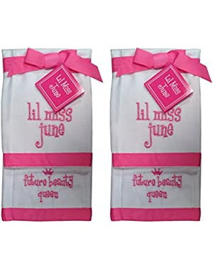Lil Miss June Future Beauty Queen Baby Burp Bib Cloth Cotton Towel - 2 Sets of 2