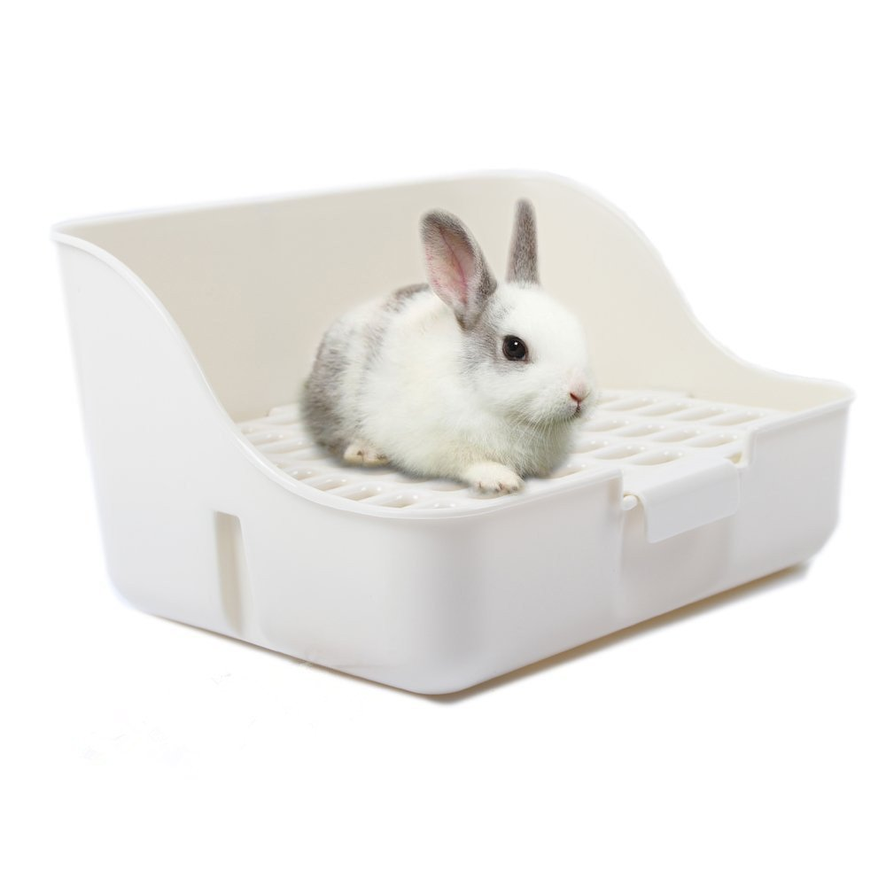 M-Aimee Square Potty Trainer Corner Litter Bedding Box Pet Pan for Small Animal/Rabbit/Guinea Pig/galesaur/Ferret