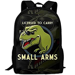 Summer Moon Fire College Bookbag Dinosaur With The Sunglasses Quote - Licensed To Carry Small ArmsBoys Waterproof Multicolor