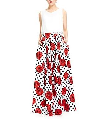 MELANSAY Women's Cotton Polka Dot Floral Plus Size Maxi Skirt with Pockets