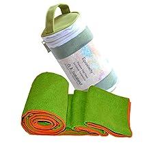 Khataland Equanimity Yoga Towel with Eco Travel Case, 100% Premium Microfiber, Extra Long Mat Size 72x24.5-Inch