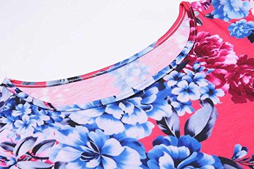 Imprimé Floral Féminin Bluetime Racerback 3 4 Manches Midi Été Tenue Décontractée Rose Rouge