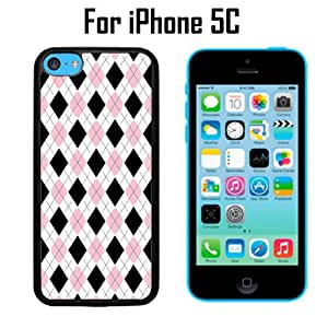 Black Pink Argyle Pattern Custom Case/ Cover/Skin *NEW* Case for Apple iPhone 5C - Black - Rubber Case (Ships from CA) Custom Protective Case , Design Case-ATT Verizon T-mobile Sprint ,Friendly Packaging - Slim Case