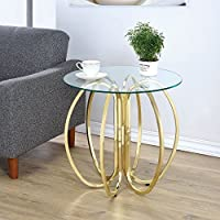 Coaster Round Glass Top End Table in Brushed Brass